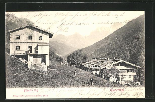 AK Kaiserthal, Pfandl-Hof mit Bauern