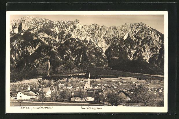 AK Schaan, Ortsansicht mit Blick auf die Drei Schwestern