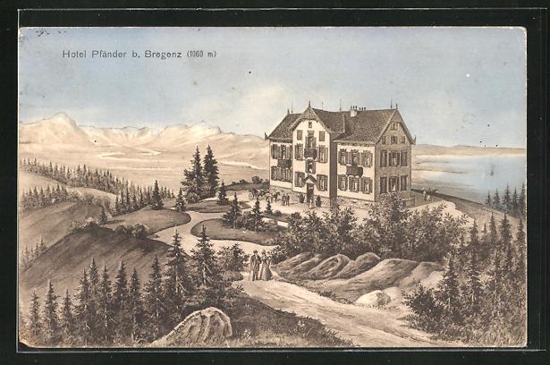 AK Bregenz, Blick auf Hotel Pfänder mit Alpenpanorama