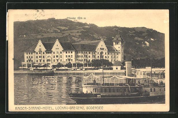 AK Lochau-Bregenz, Partie am Bodensee mit Blick zum Kaiser-Strand-Hotel und Pfänder