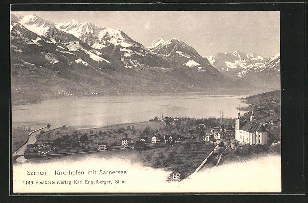 AK Sarnen-Kirchhofen, Ortsansicht mit Sarnersee