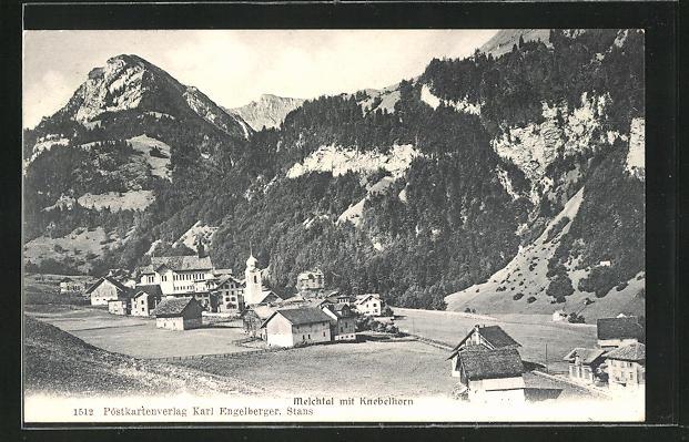 AK Melchtal, Ortsansicht mit Knebelhorn