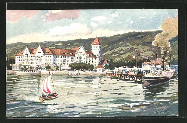Künstler-AK Lochau-Bregenz, Kaiser-Strand-Hotel am Bodensee