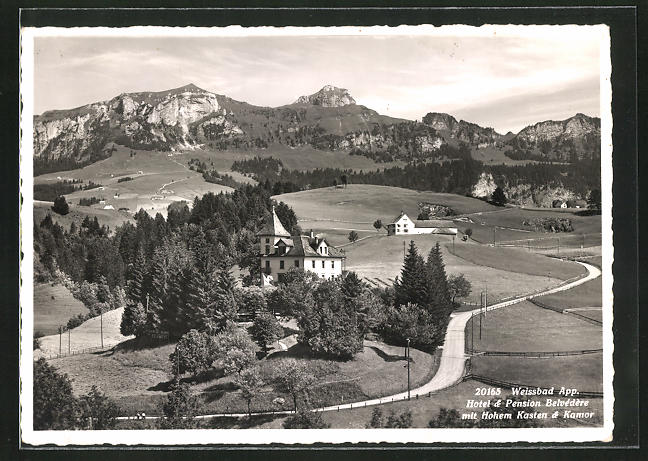AK Weissbad, Hotel-Pension Belvedere mit Hohem Kasten & Kamor