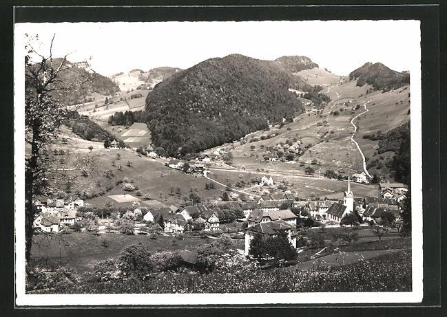 AK Langenbruck, Ortspartie vom Berg gesehen
