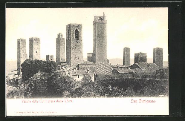 AK San Gimignano, Veduta delle Torri presa dalla Rocca