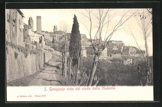 AK San Gimignano, vista dal vicolo della Madonna