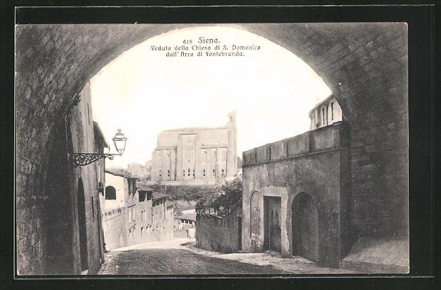 AK Siena, Veduta della Chiesa di S. Domenico dall'Arco di fontebranda