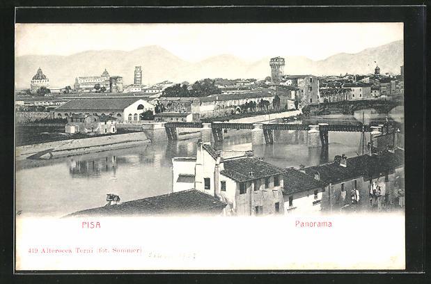 AK Pisa, Panorama mit Flussbrücke