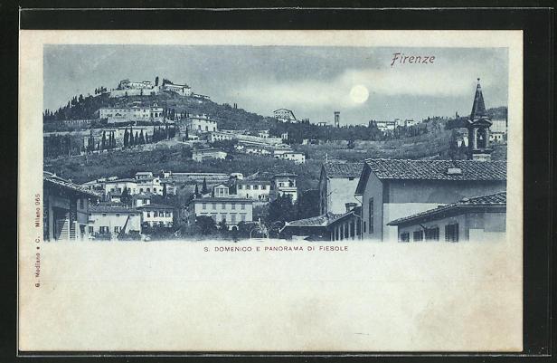 Mondschein-AK Fiesole, S. Domenico e Panorama