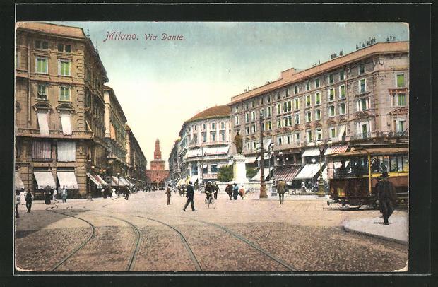 AK Milano, Via Dante, Strassenbahn