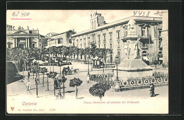 AK Catania, Piazza Stesicorea col palazzo dei Tribunali