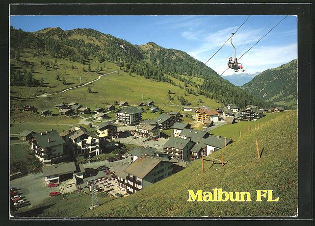 AK Malbun, Ortsansicht mit Seilbahn