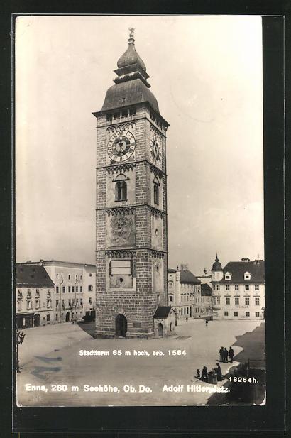 AK Enns, Stadtturm auf dem Adolf platz