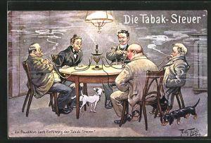 Künstler-AK Arthur Thiele: Die Tabak-Steuer, Im Rauchklub