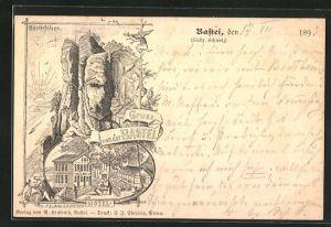 Vorläufer-Lithographie Ganzsache PP9F218 /02: Bastei, 1893, Hotel an der Bastei, Basteifelsen