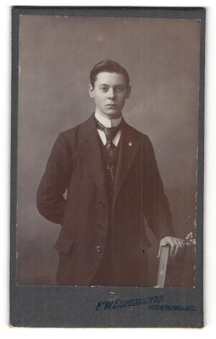 Fotografie F. W. Espenkotte, Hohenlimburg, Portrait junger Herr mit Krawatte und Buch im Anzug