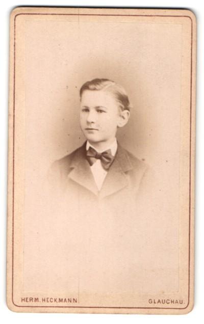 Fotografie Herm. Heckmann, Glauchau, Portrait kleiner Junge mit Seitenscheitel u. Fliege im Anzug
