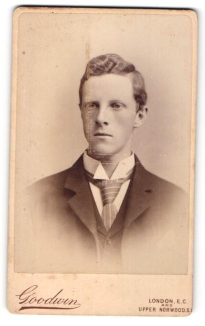 Fotografie Goodwin, London, Portrait junger Herr mit Krawatte im Anzug