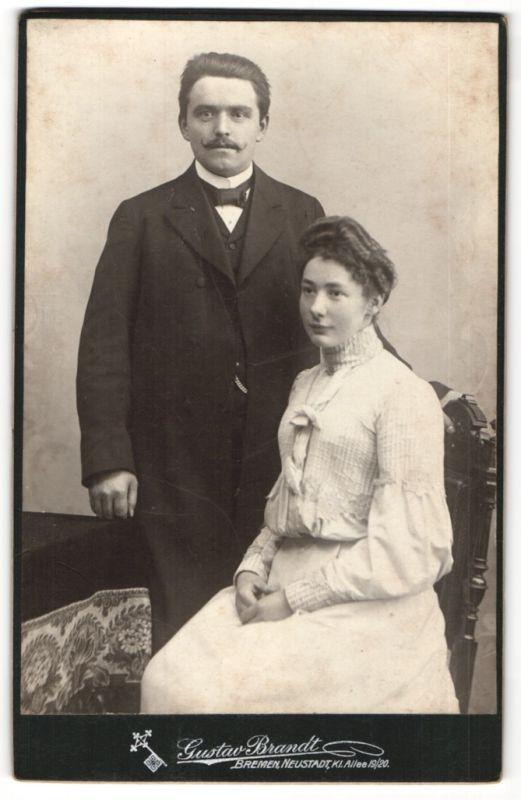 Fotografie Gustav Brandt, Bremen & Neustadt, Portrait junges gutbürgerliches Paar