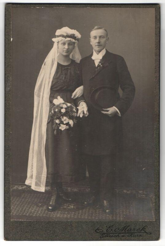 Fotografie E. Marek, Ellrich a. Harz, Portrait Braut und Bräutigam, Hochzeit