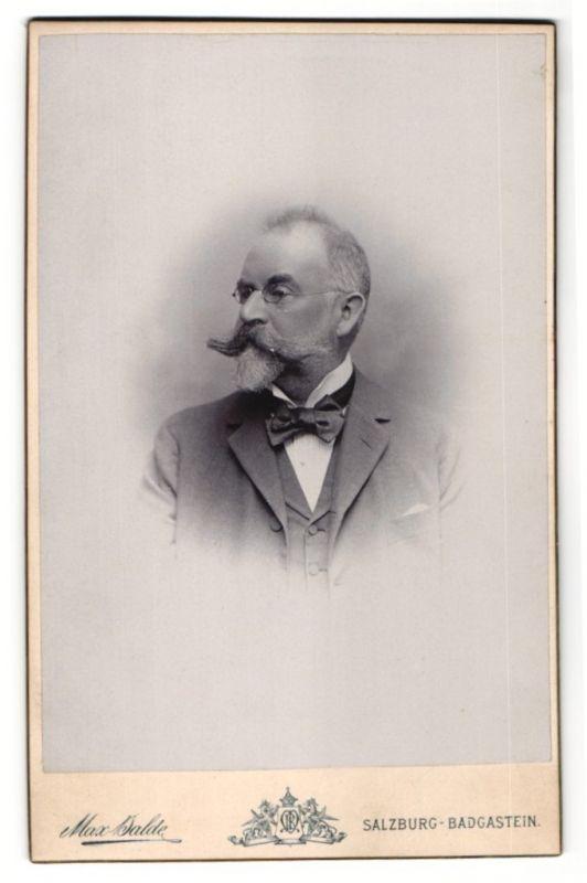 Fotografie Max Balde, Salzburg-Badgastein, Portrait älterer Herr mit imposantem Bart