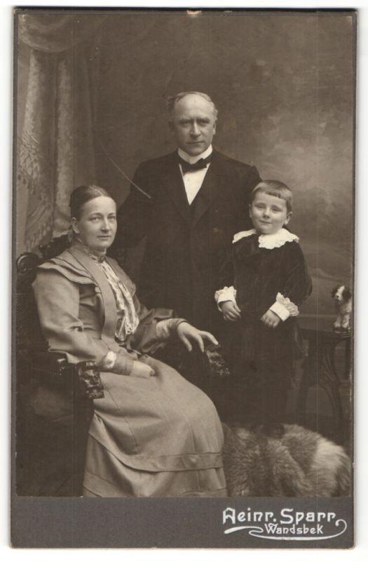 Fotografie Heinr. Sparr, Wandsbek, Pastor Wilh. Brodersen mit Gattin und Sohn