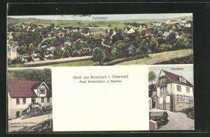 AK Brombach i. Odenwald, Totalansicht, Post Hirschhorn, Schulhaus, Gasthaus zum Stern