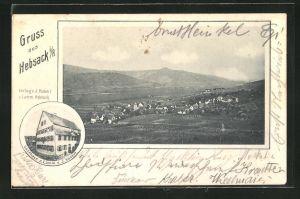 AK Hebsack i / R., Ortsansicht, Gasthaus z. Lamm