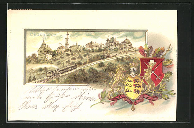 Passepartout-Lithographie Degerloch, Ortsansicht u. Wappen