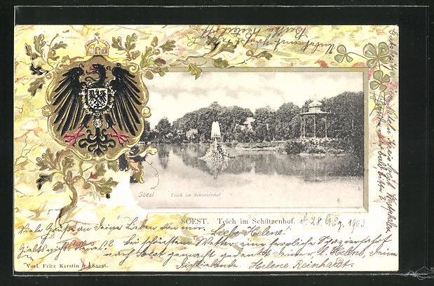 Passepartout-Lithographie Soest, Teich im Schützenhof u. Adler mit Wappen