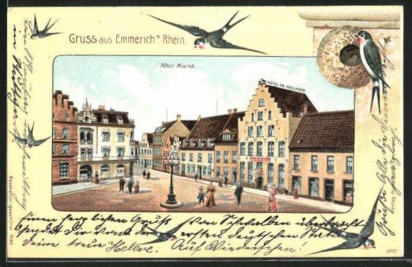 Passepartout-Lithographie Emmerich a. Rhein, Alter Markt u. Vögel