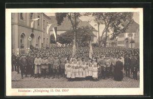 AK Rülzheim, Königintag 15. Oktober 1914, Versammelte Soldaten
