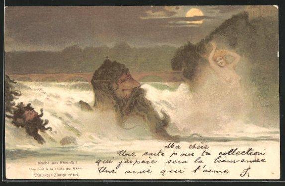 Lithographie Killinger Nr. 109, Nacht am Rheinfall, Berg mit Gesicht / Berggesicht, Berggesichter