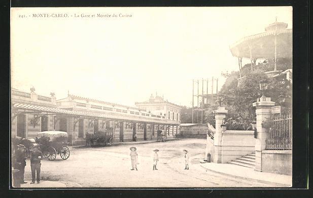 AK Monte-Carlo, La Gare et Montée du Casino, Bahnhof