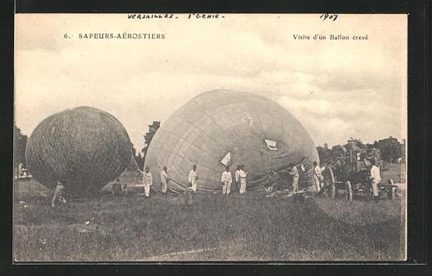 AK Sapeurs-Aérostiers, Visite d`un Ballon crevé, Ballontruppen mit Pumpwagen