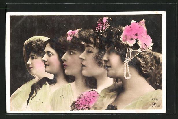 Fotomontage-AK NPG Nr. 443 /5: fünf Frauenprofile, Kopfschmuck