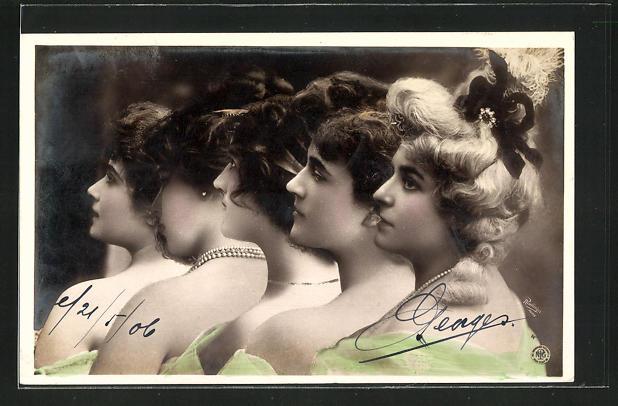 Fotomontage-AK NPG Nr. 443 /2: Frauenprofile mit zusammengebundenem Haar