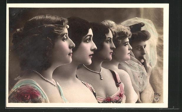 Fotomontage-AK NPG Nr. 443 /10: fünf Damenprofile