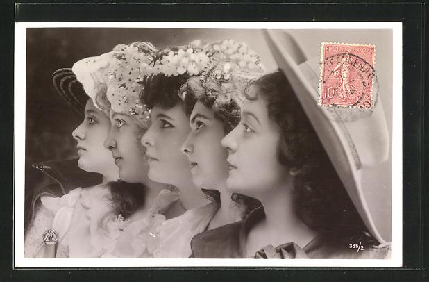 Fotomontage-AK NPG Nr. 385 /2: fünf Frauenprofile mit Hüten