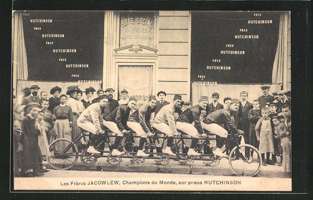 AK Paris, Pneu Hutchinson, 60 Rue St. Lazare, Les Frères Jacowlew, Champions du Monde, Sechser-Tandem, Radsport, Reklame