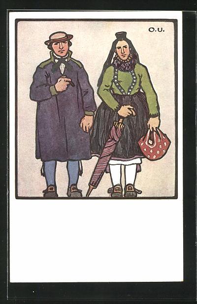 Künstler-AK Otto Ubbelohde: Hessische Trachten, Mann und Frau