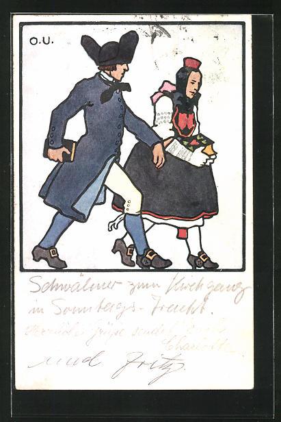 Künstler-AK Otto Ubbelohde: Hessische Trachten, Paar mit Büchern