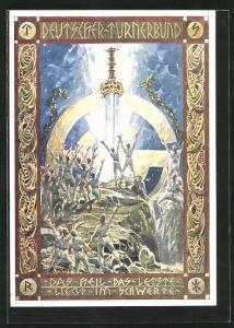 Künstler-AK Wien, 2. Bundesturnfest 1926, Deutscher Turnerbund, Das Heil das Letzte liegt im Schwerte,