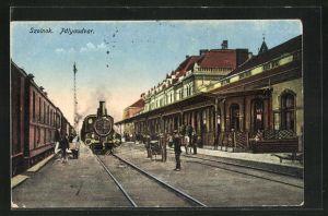 AK Szolnok, Palyaudvar, Eisenbahn am Bahnhof