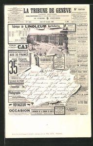 AK Genf, Ortspartie durch Loch in der Zeitung La Tribune de Genève