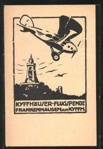 Künstler-AK Frankenhausen am Kyffh., Kyffhäuser-Flugspende, Flugzeug über dem Kyffhäuser-Denkmal