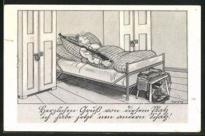 Künstler-AK Ferdinand Barlog: Herzlichen Gruss von diesem Platz..., Soldatenhumor