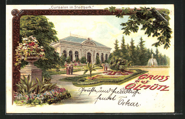 Künstler-Lithographie Erwin Spindler: Olmütz, Kursalon im Stadtpark