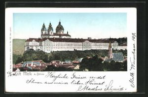 Goldfenster-AK Melk a. Donau, Blick zum Stift mit leuchtenden Fenstern